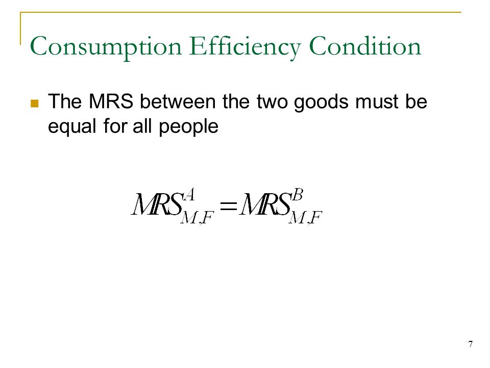 Consumption Efficiency Condition
