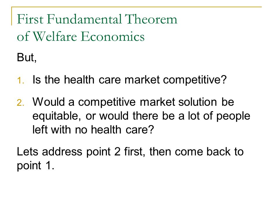 First Fundamental Theorem of Welfare Economics