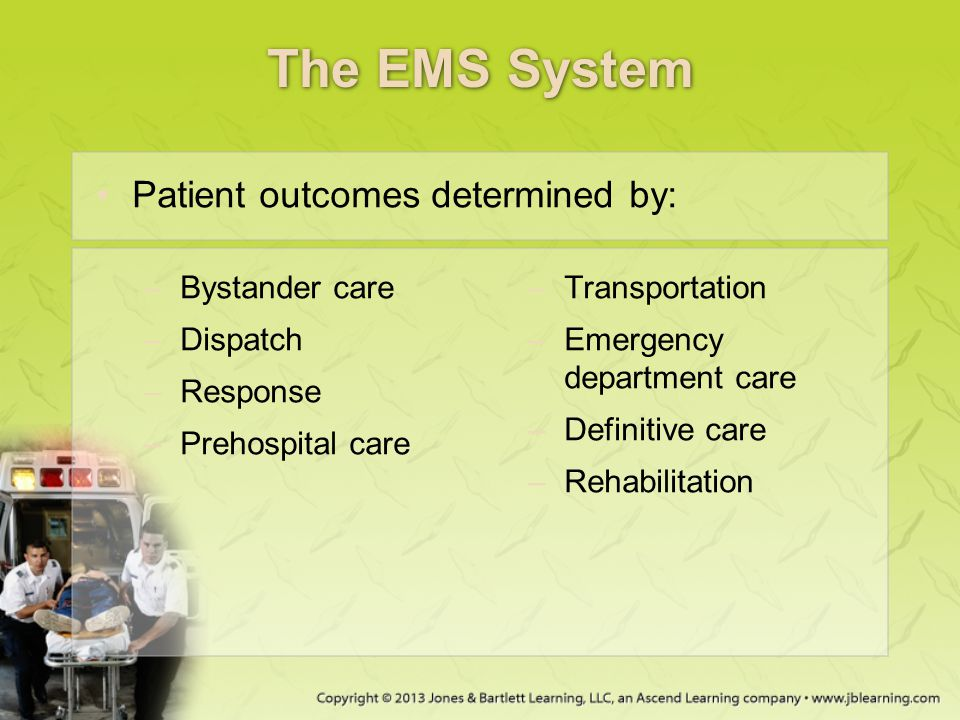 The EMS System Patient outcomes determined by: Bystander care
