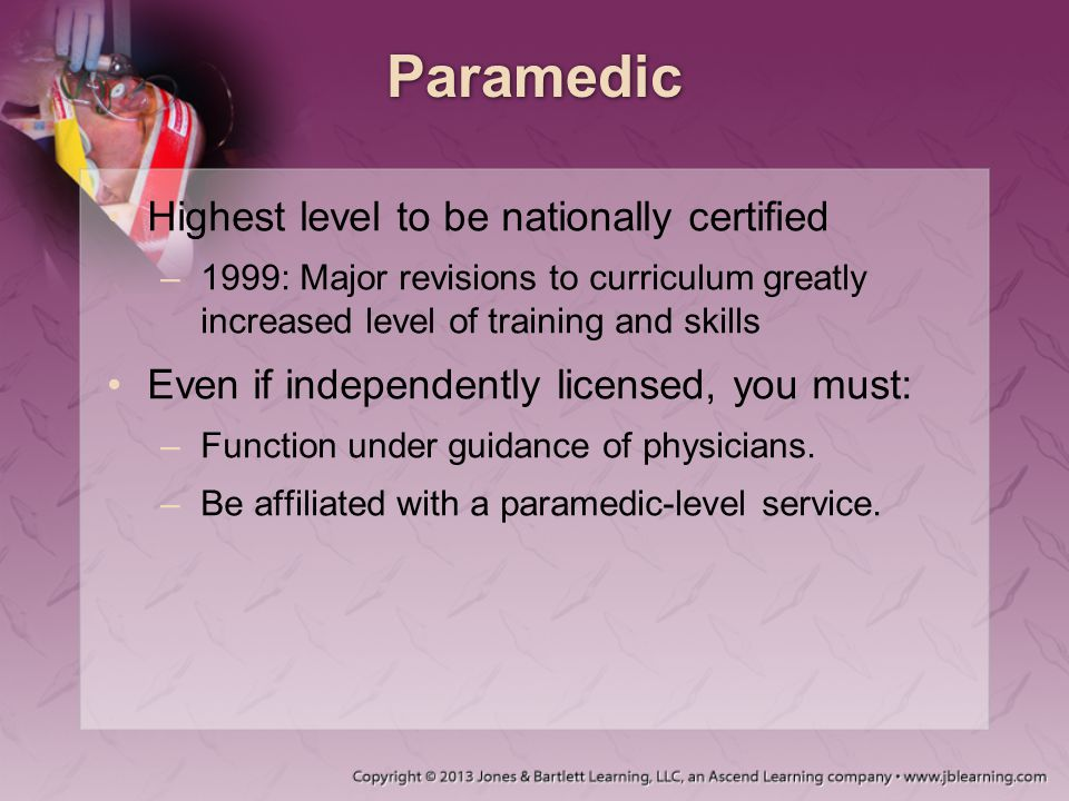 Paramedic Highest level to be nationally certified