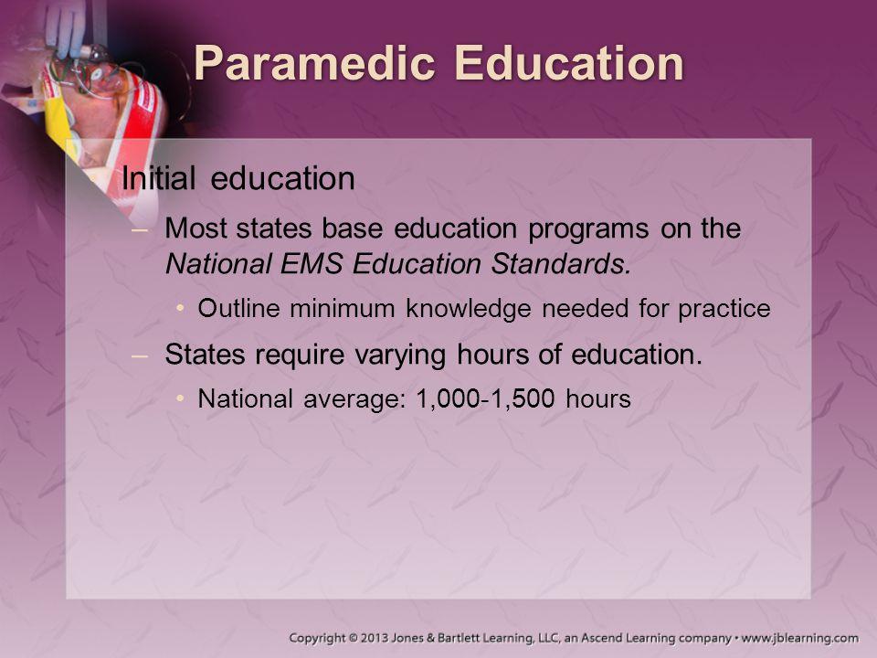 Paramedic Education Initial education