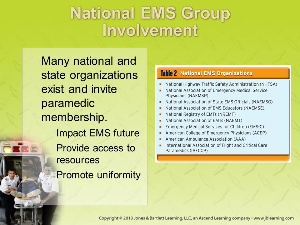 National EMS Group Involvement