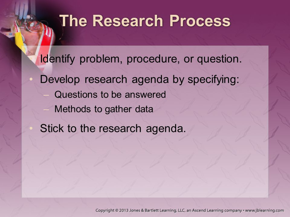 The Research Process Identify problem, procedure, or question.