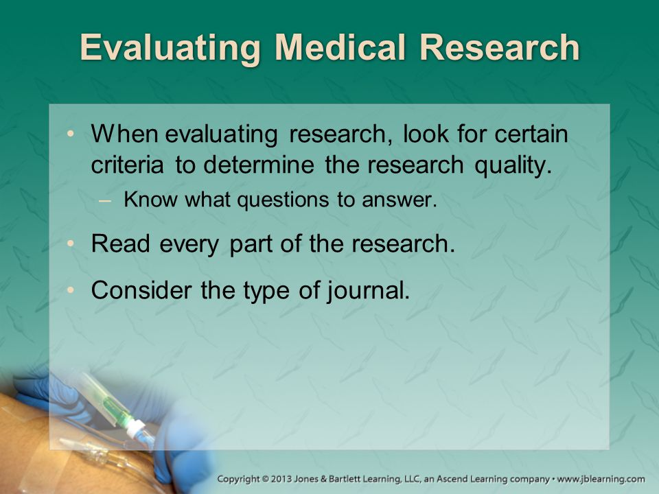 Evaluating Medical Research