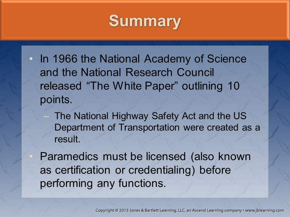 Summary In 1966 the National Academy of Science and the National Research Council released The White Paper outlining 10 points.