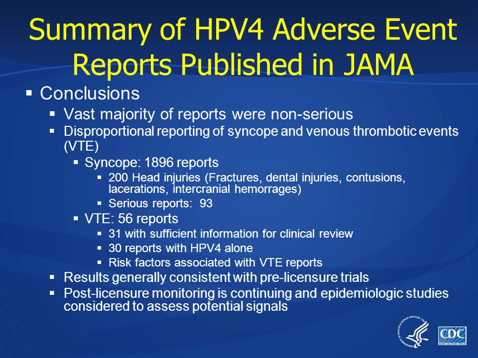 Summary of HPV4 Adverse Event Reports Published in JAMA