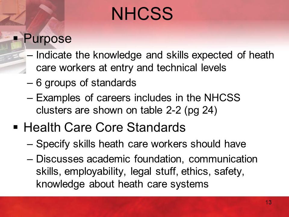 NHCSS Purpose Health Care Core Standards