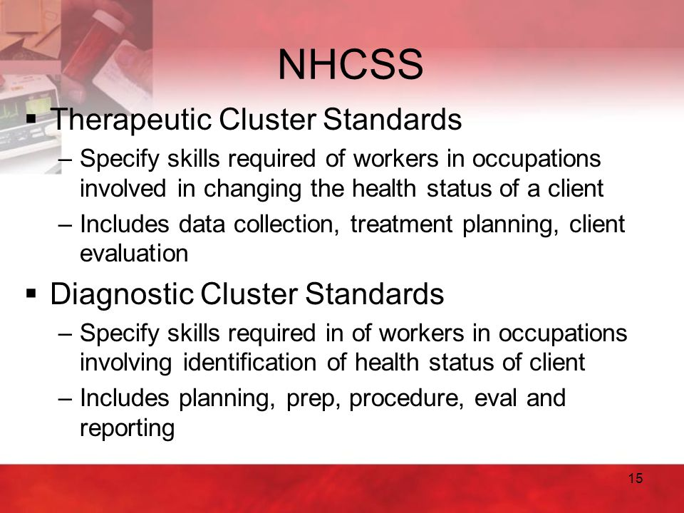 NHCSS Therapeutic Cluster Standards Diagnostic Cluster Standards