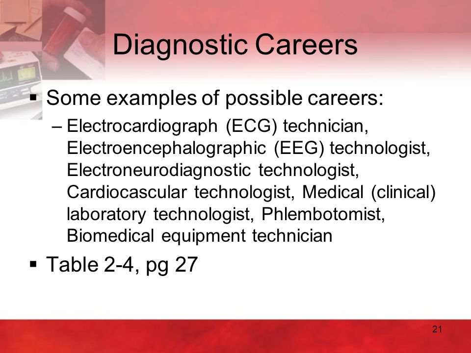 Diagnostic Careers Some examples of possible careers: Table 2-4, pg 27