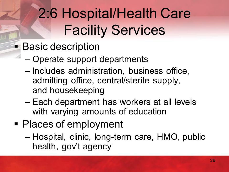 2:6 Hospital/Health Care Facility Services