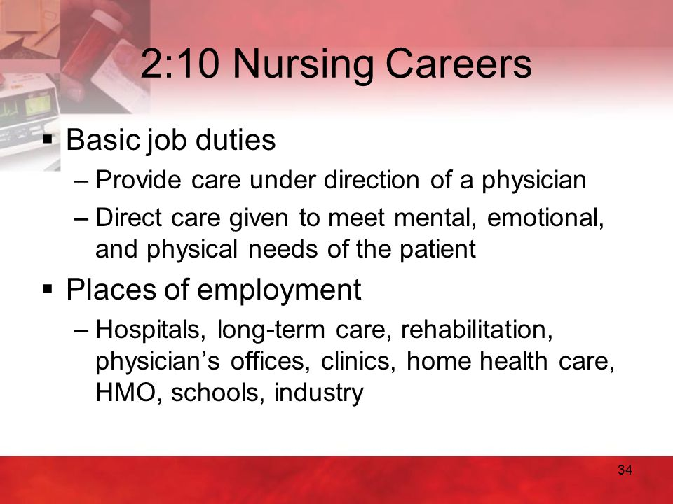 2:10 Nursing Careers Basic job duties Places of employment
