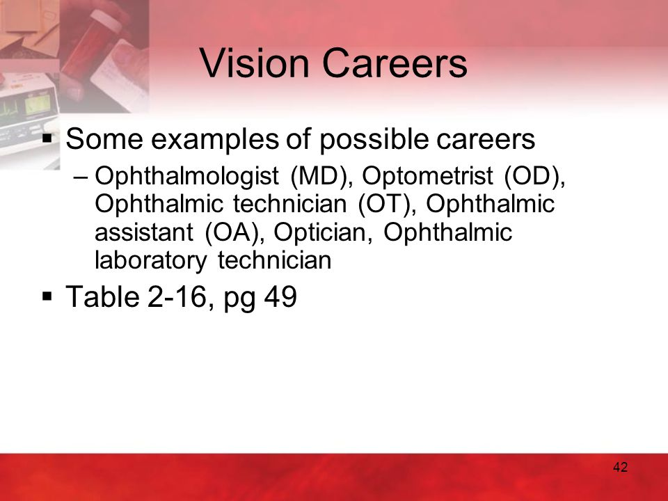 Vision Careers Some examples of possible careers Table 2-16, pg 49