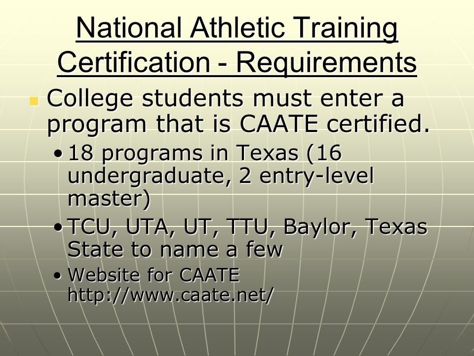 National Athletic Training Certification - Requirements
