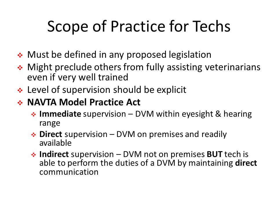 Scope of Practice for Techs
