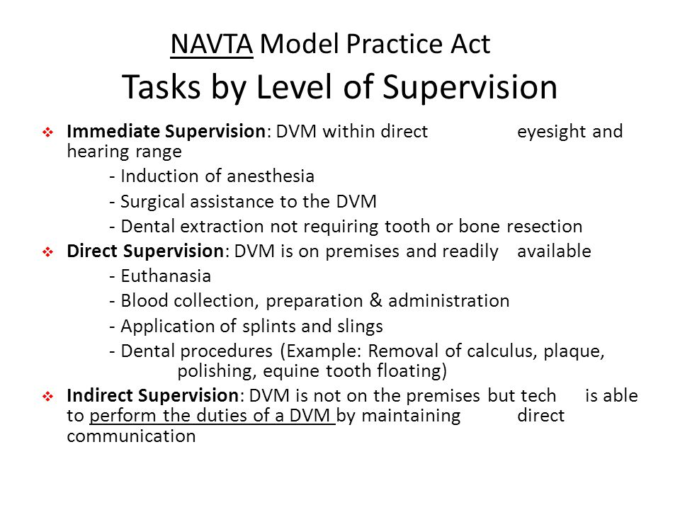 NAVTA Model Practice Act Tasks by Level of Supervision