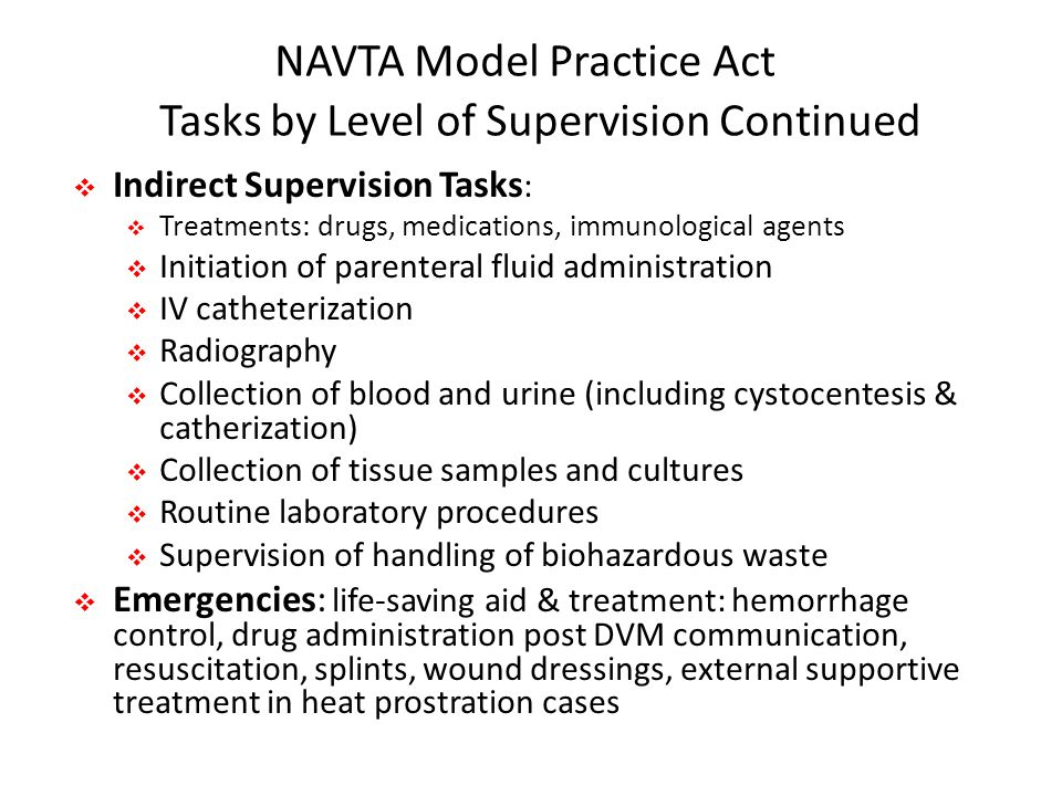 NAVTA Model Practice Act Tasks by Level of Supervision Continued