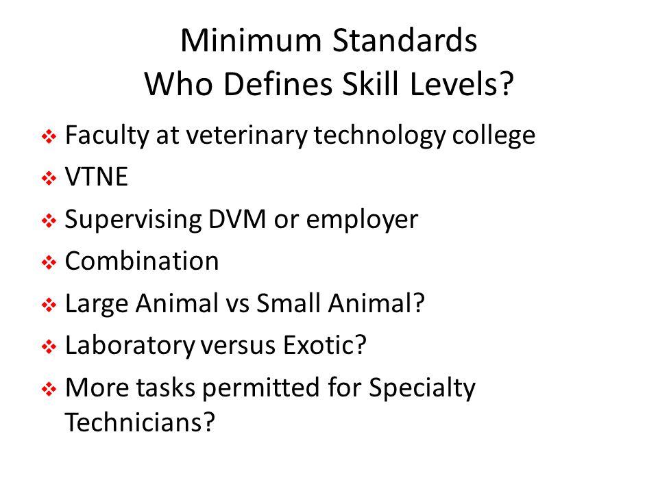 Minimum Standards Who Defines Skill Levels