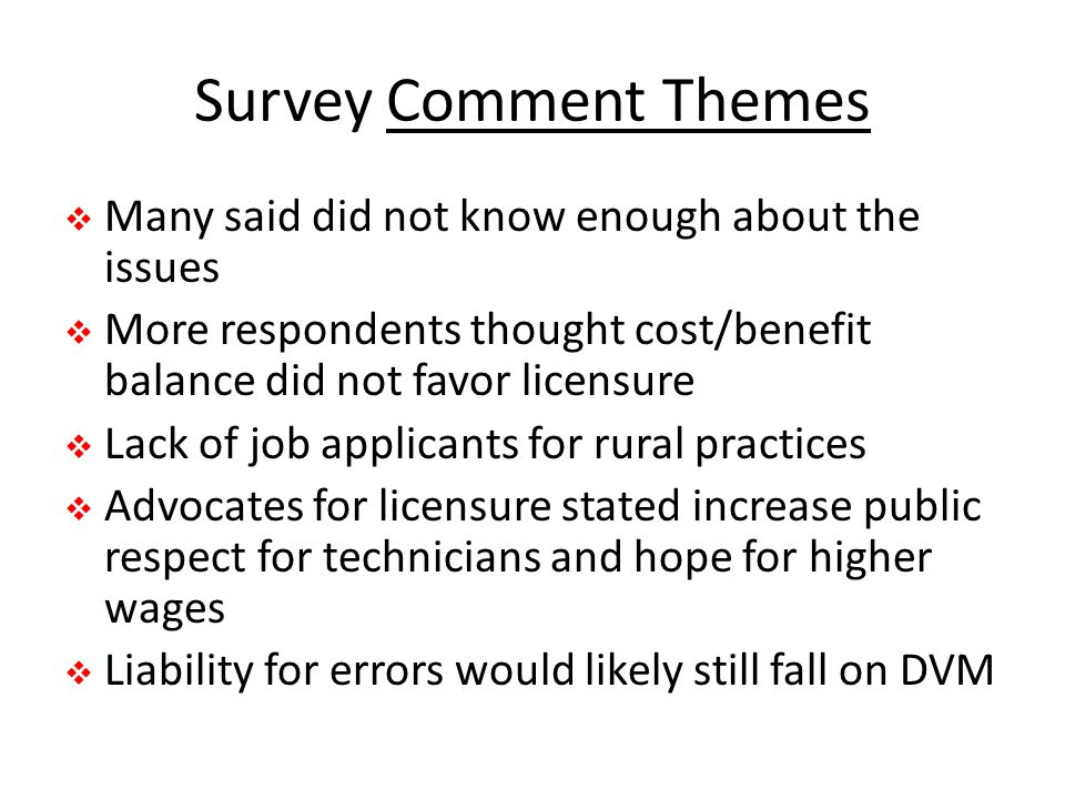 Survey Comment Themes Many said did not know enough about the issues