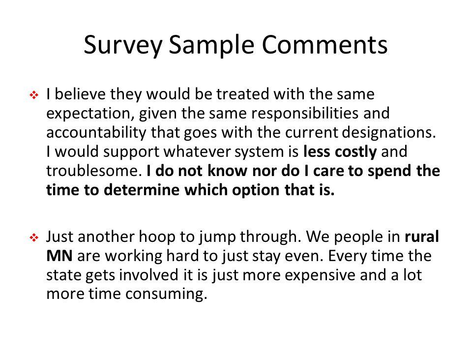 Survey Sample Comments