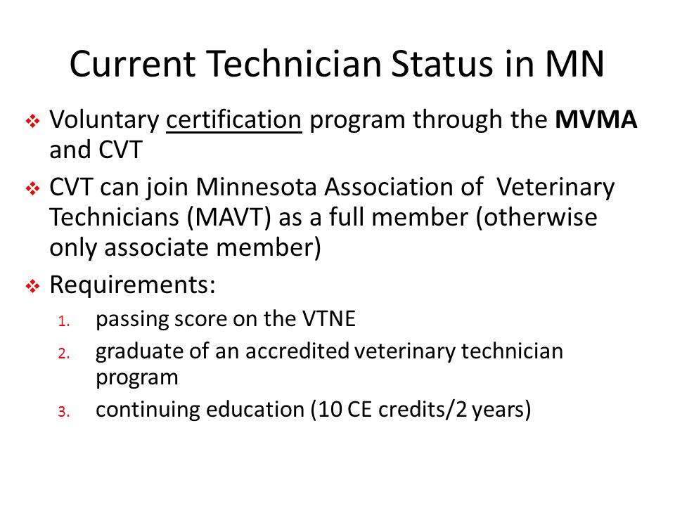 Current Technician Status in MN