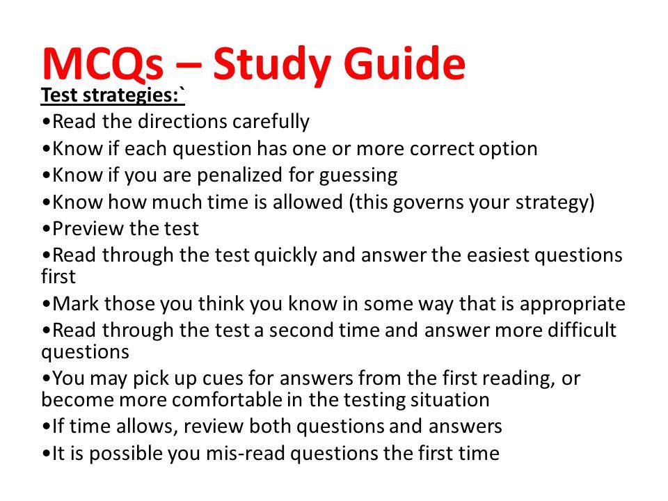 MCQs – Study Guide