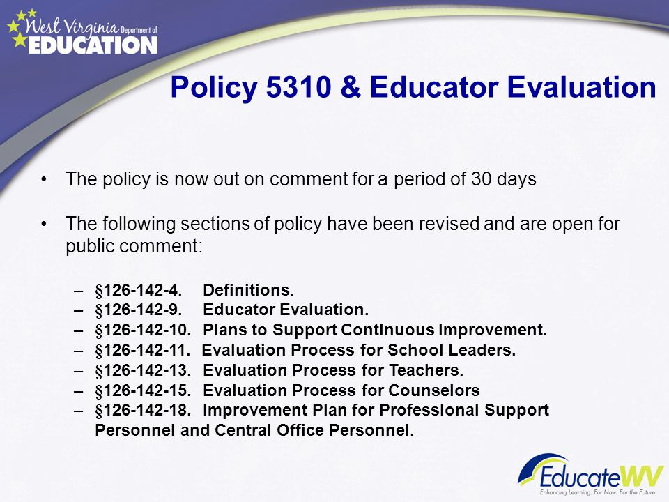 Policy 5310 & Educator Evaluation