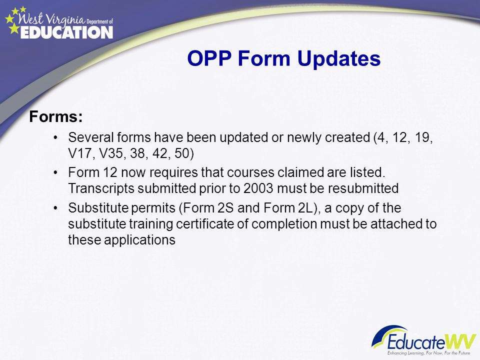 OPP Form Updates Forms: