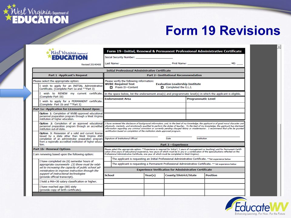Form 19 Revisions Mrs. Lori Buchanan