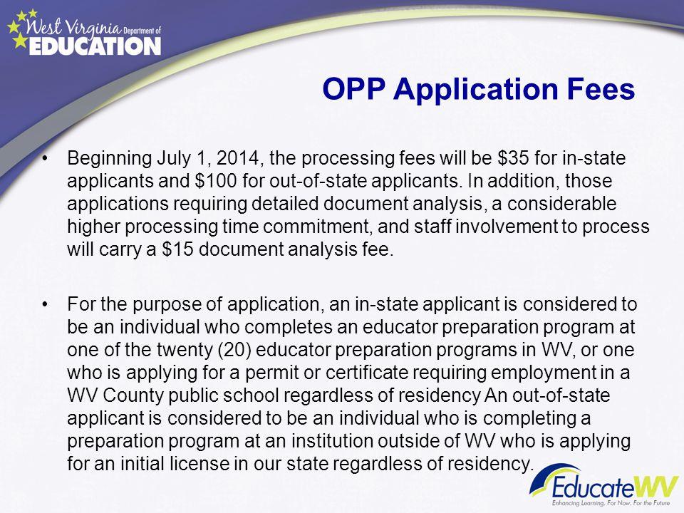 OPP Application Fees
