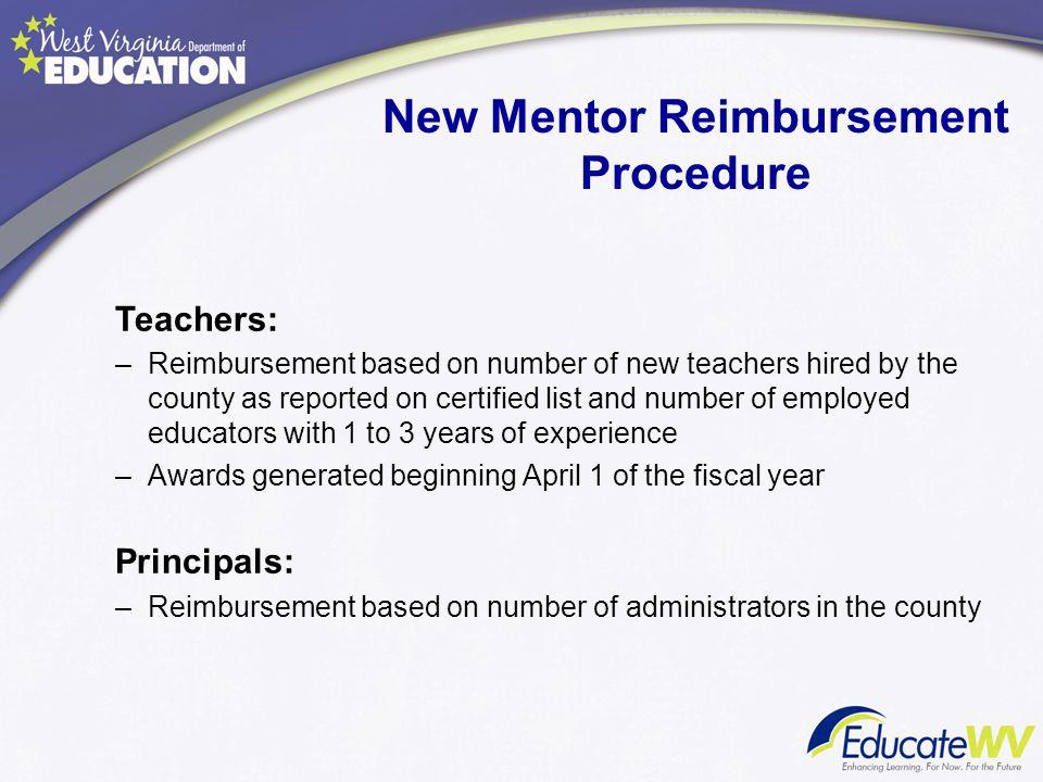 New Mentor Reimbursement Procedure