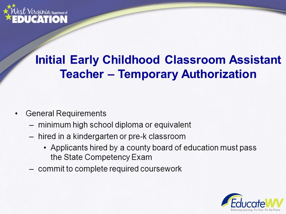 Initial Early Childhood Classroom Assistant Teacher – Temporary Authorization
