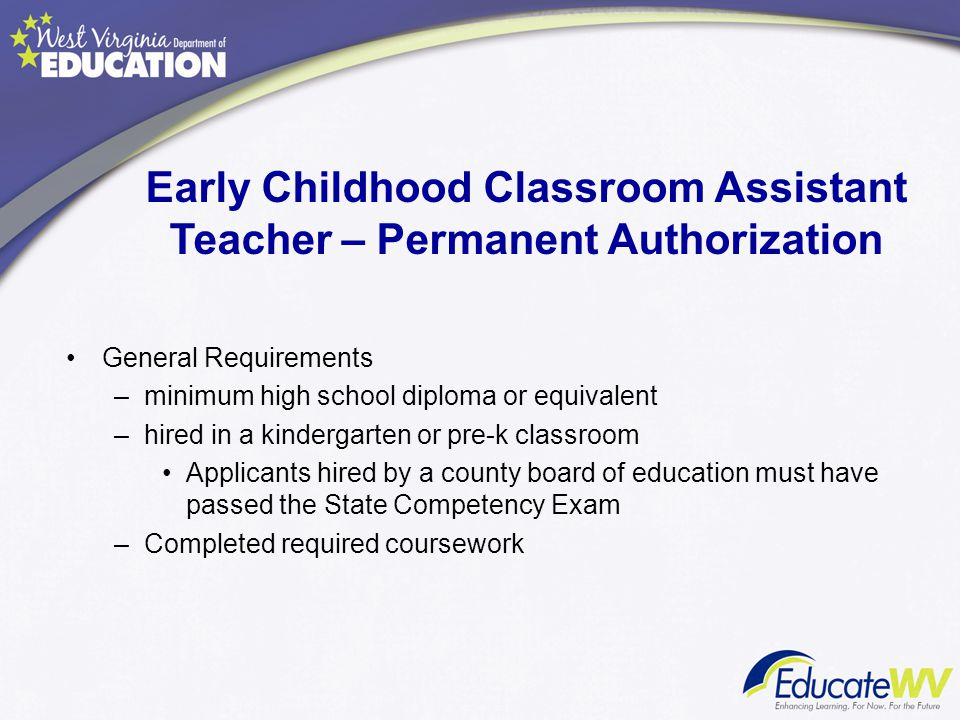 Early Childhood Classroom Assistant Teacher – Permanent Authorization