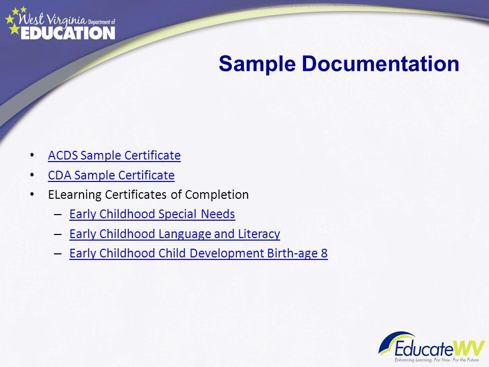 Sample Documentation ACDS Sample Certificate CDA Sample Certificate