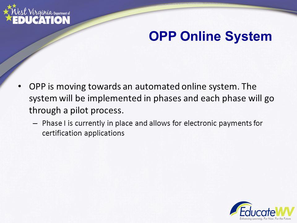 OPP Online System