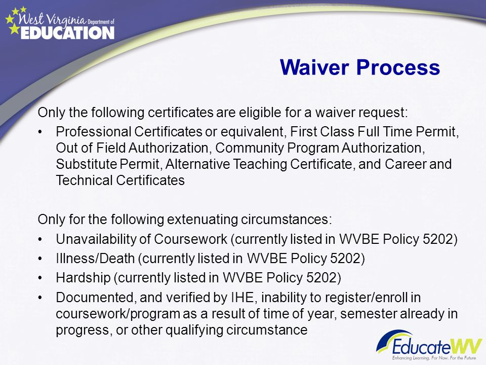 Waiver Process Only the following certificates are eligible for a waiver request: