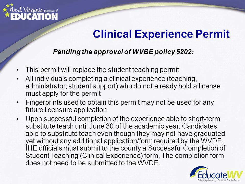 Clinical Experience Permit