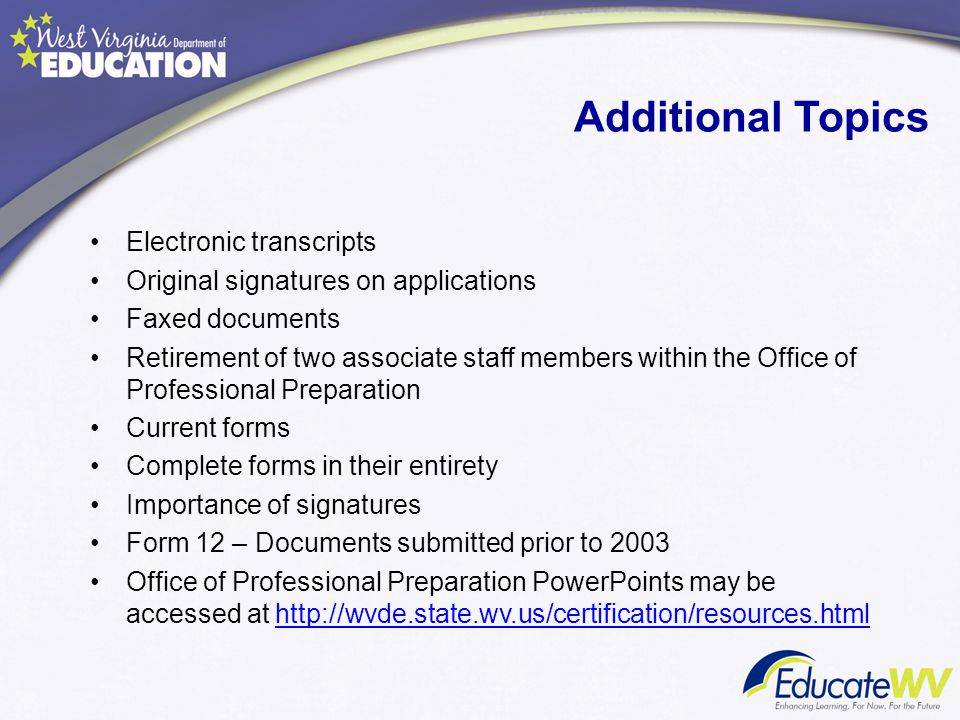 Additional Topics Electronic transcripts
