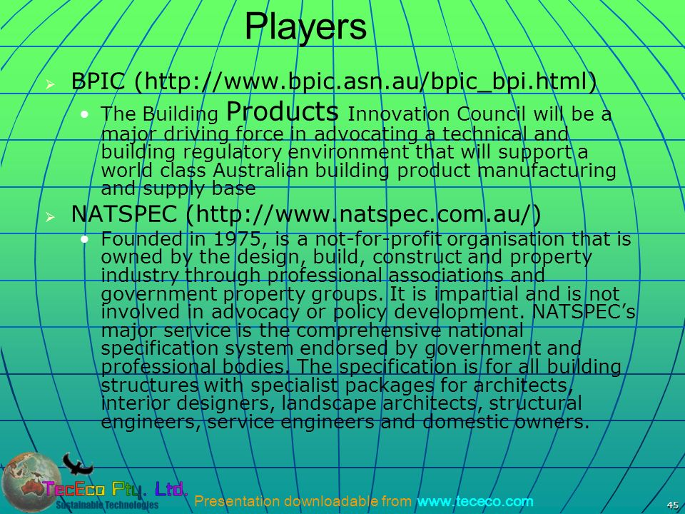 Players BPIC (http://www.bpic.asn.au/bpic_bpi.html)