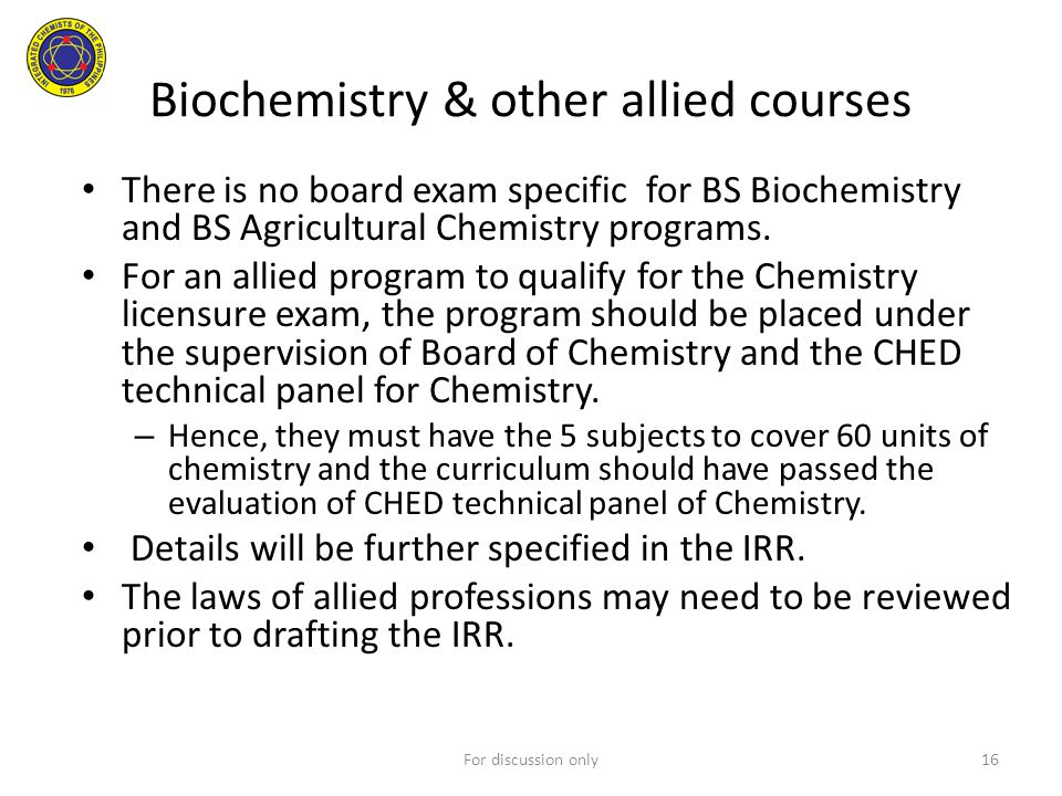 Biochemistry & other allied courses