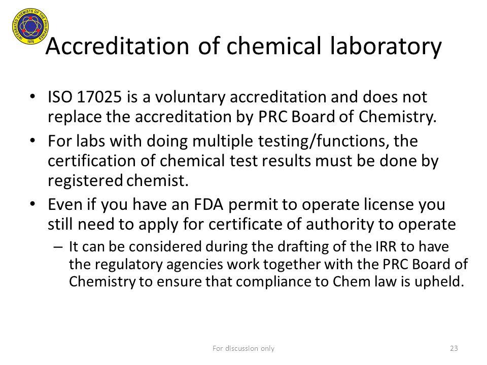 Accreditation of chemical laboratory