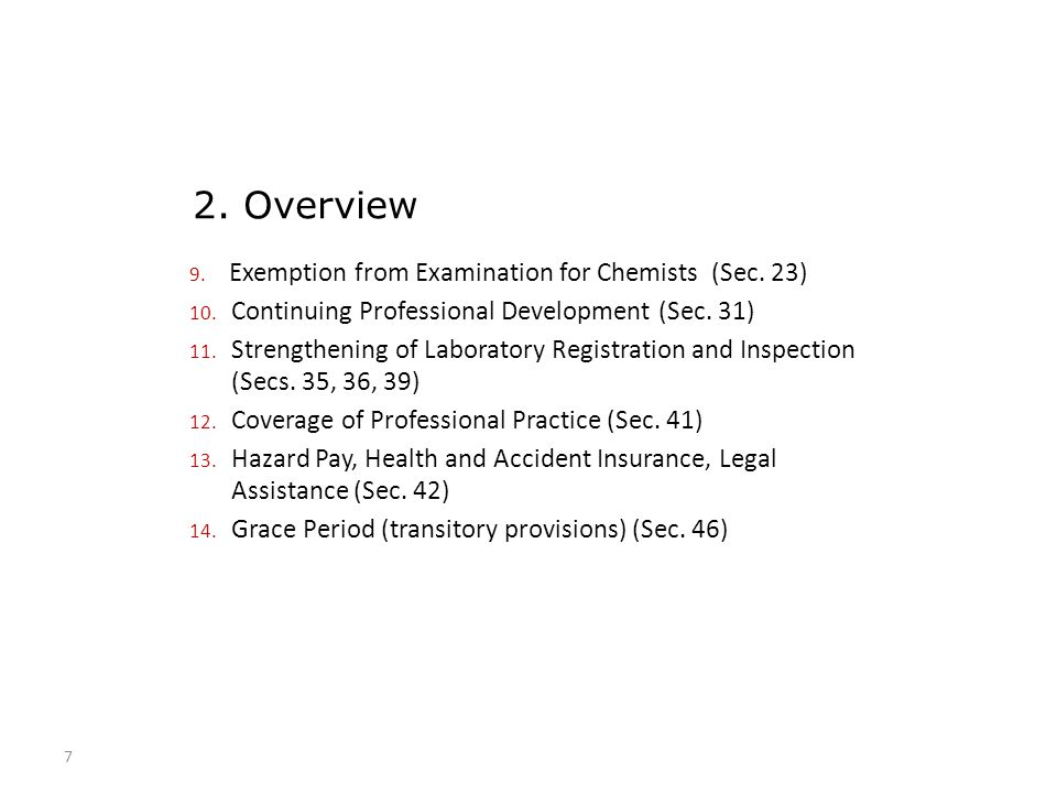 2. Overview Exemption from Examination for Chemists (Sec. 23)