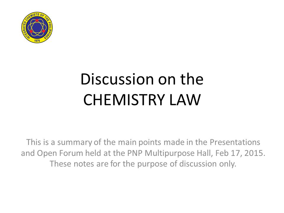 Discussion on the CHEMISTRY LAW