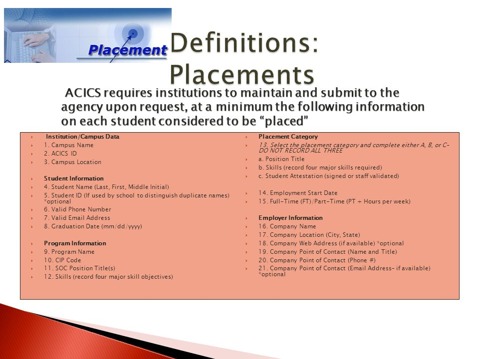 Definitions: Placements