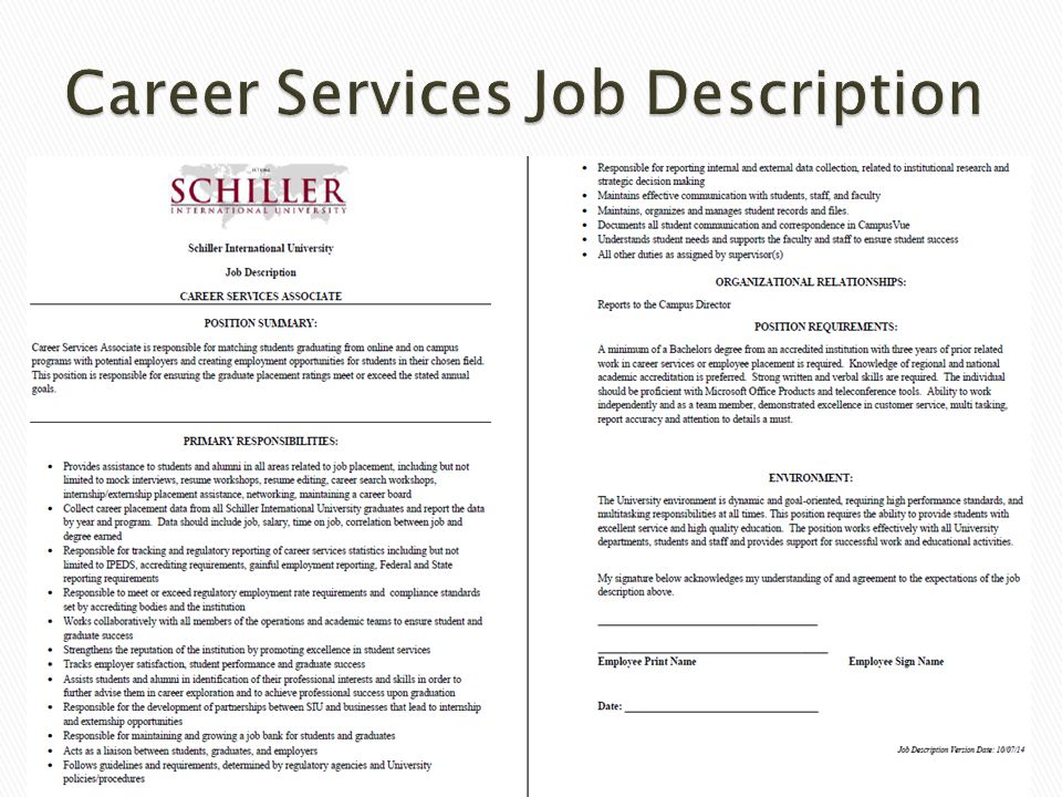 Career Services Job Description