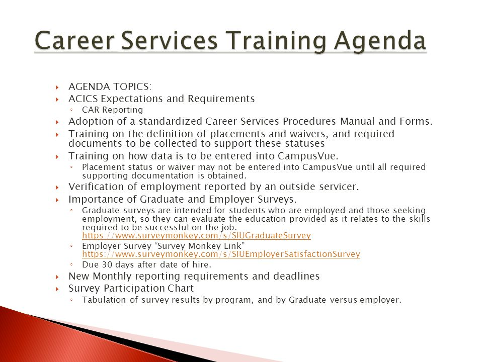 Career Services Training Agenda