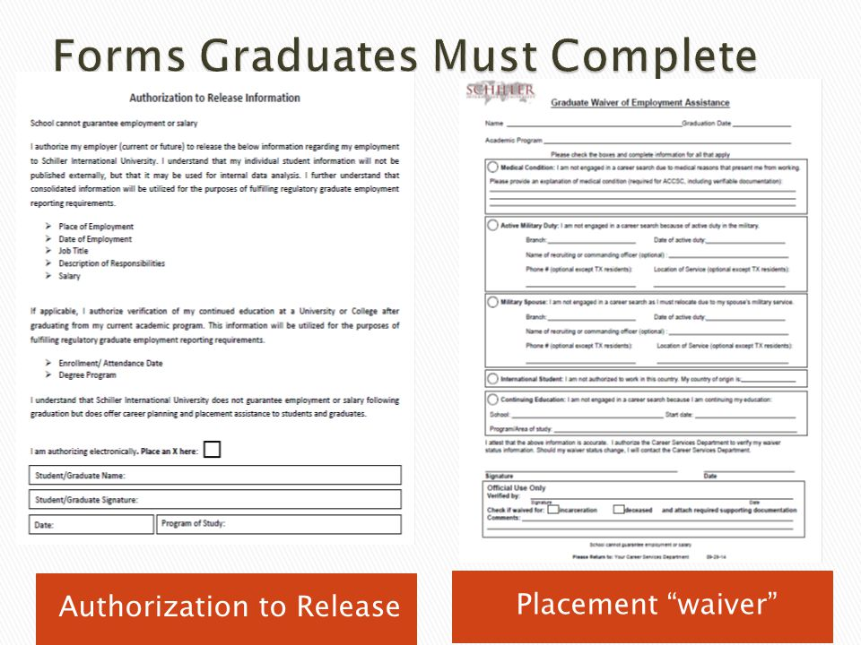 Forms Graduates Must Complete