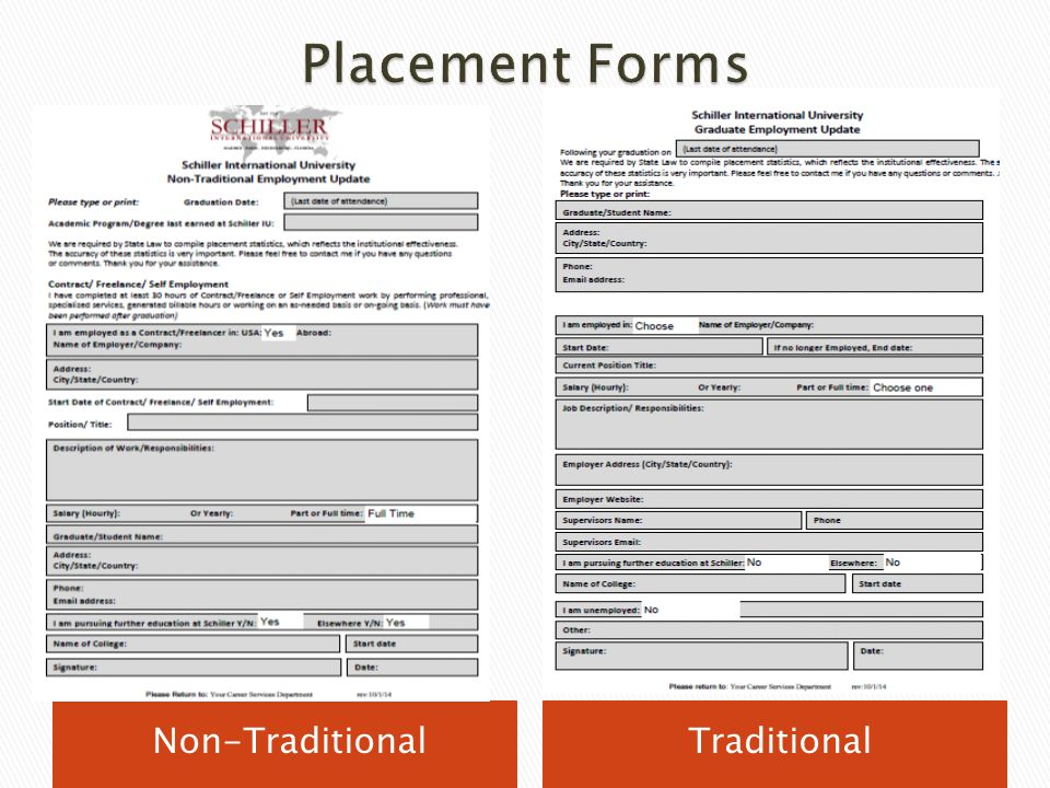 Placement Forms Non-Traditional Traditional