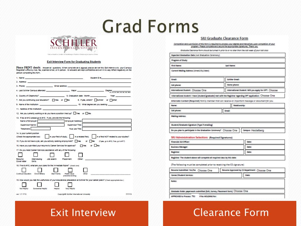 Grad Forms Exit Interview Clearance Form