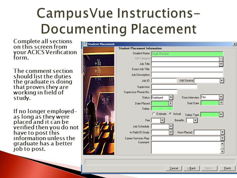 CampusVue Instructions-Documenting Placement
