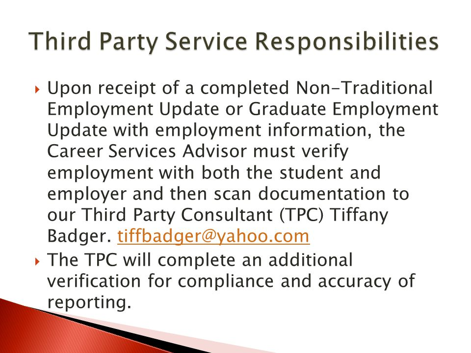 Third Party Service Responsibilities